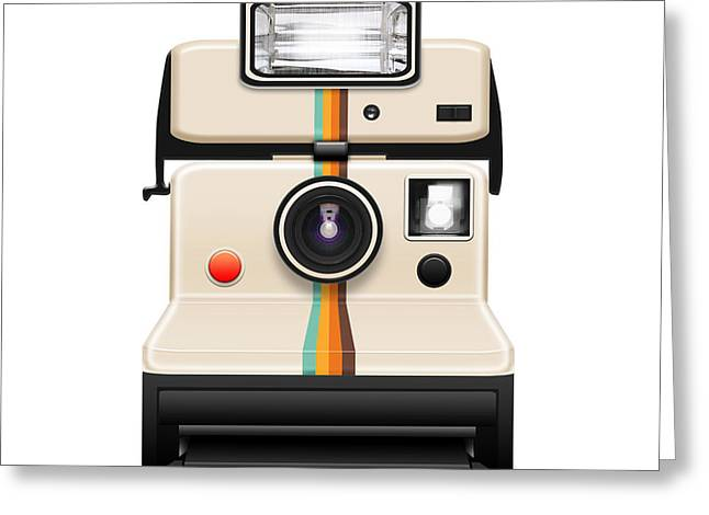 Instant Camera With A Blank Photo Greeting Card
