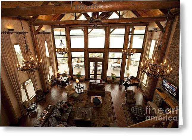 Interior Of Large Wooden Lodge Greeting Card by Will and Deni McIntyre