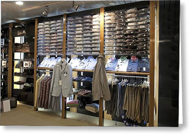 Italian Mens Fashion Shop In Tallinn Greeting Card by Jaak Nilson