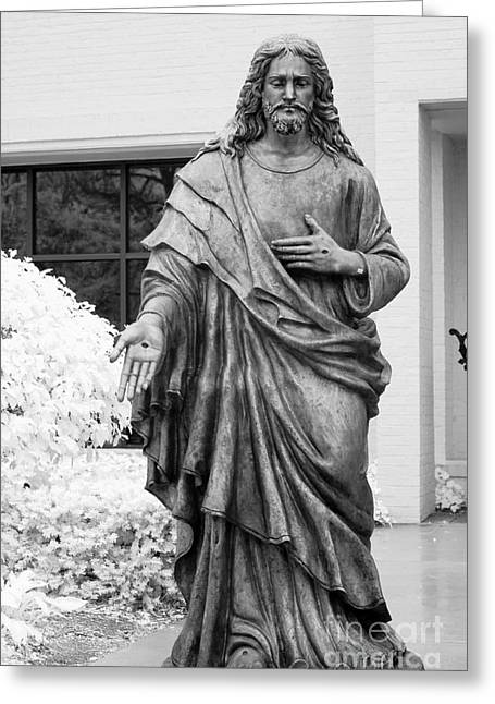 Jesus - Christian Art - Religious Statue Of Jesus Greeting Card by Kathy Fornal