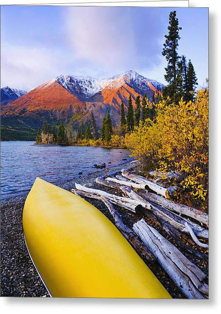 Kathleen Lake And Mountains, Kluane Greeting Card by Yves Marcoux