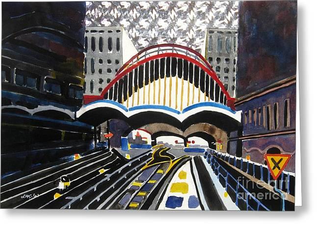 London Canary Wharf Station Greeting Card by Lesley Giles