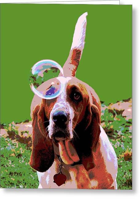 Maisie In Green Greeting Card by Dorrie Pelzer