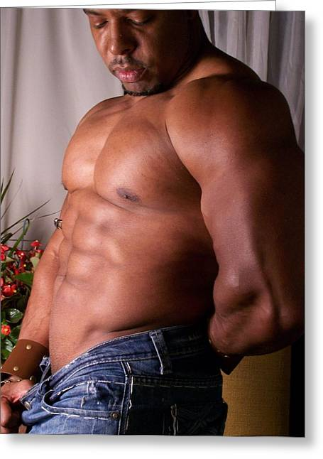 Male Muscle Art Poser Greeting Card