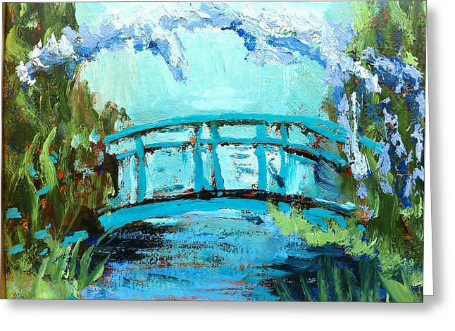 Monet's Bridge Greeting Card by Joan Bohls