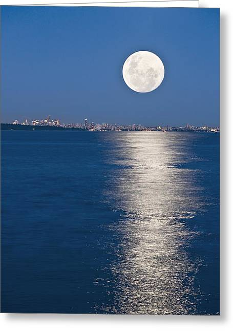 Moonrise Over Vancouver Harbour Greeting Card
