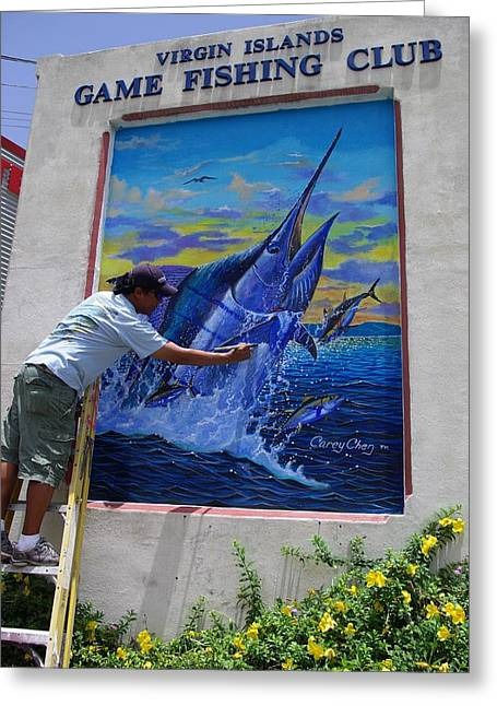 Mural In St Thomas Greeting Card by Carey Chen