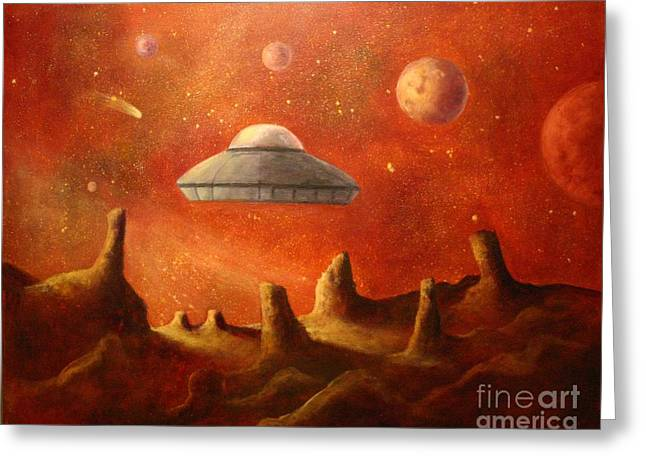 Mysterious Planet Greeting Card by Randy Burns