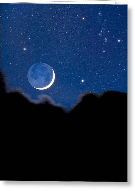 Night Sky Greeting Card by David Nunuk