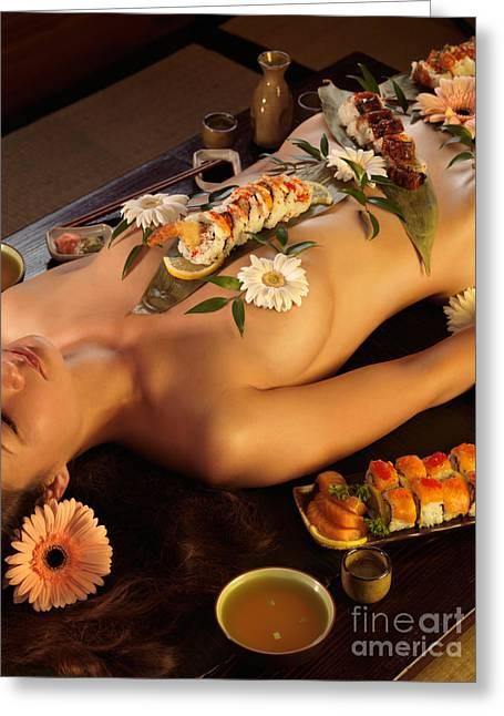 Nyotaimori Body Sushi Greeting Card by Oleksiy Maksymenko