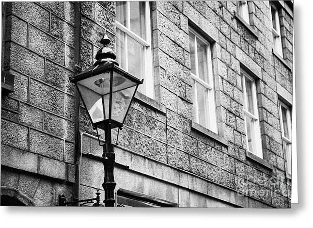 Old Sugg Gas Street Lights Converted To Run On Electric Lighting Aberdeen Scotland Uk Greeting Card