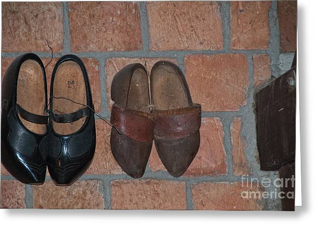 Old Wooden Shoes Greeting Card by Carol Ailles