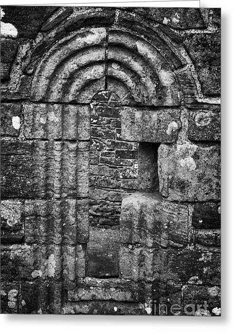 Ornate Carved Window In The 12th Century Banagher Old Church County Derry Londonderry Greeting Card by Joe Fox