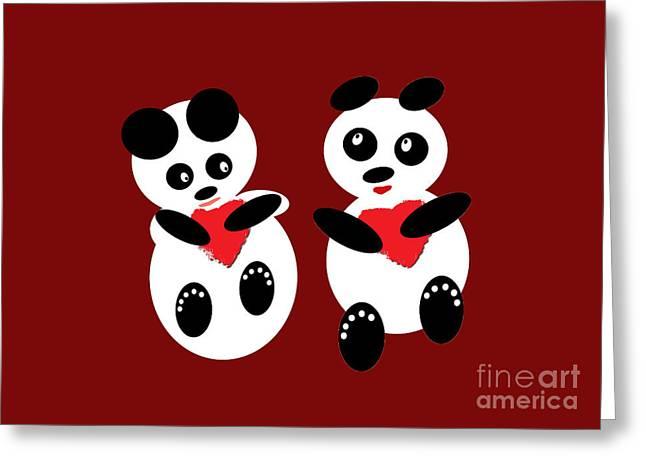 2 Pandas In Love Greeting Card by Ausra Huntington nee Paulauskaite