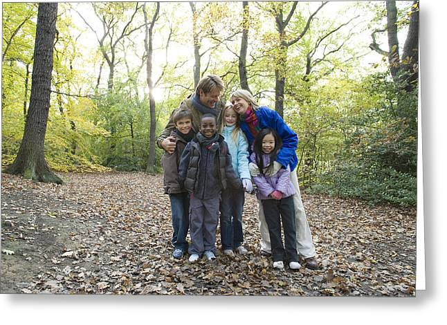 Parents And Children In A Wood Greeting Card