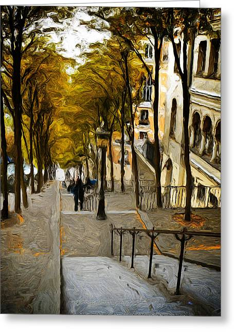 Paris Stairs Greeting Card