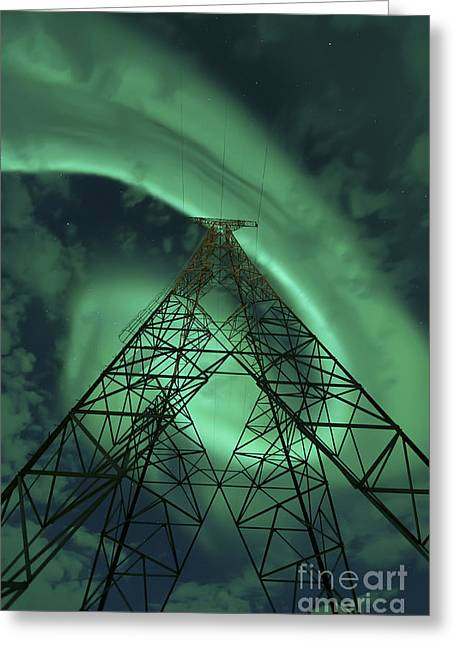 Powerlines And Aurora Borealis Greeting Card