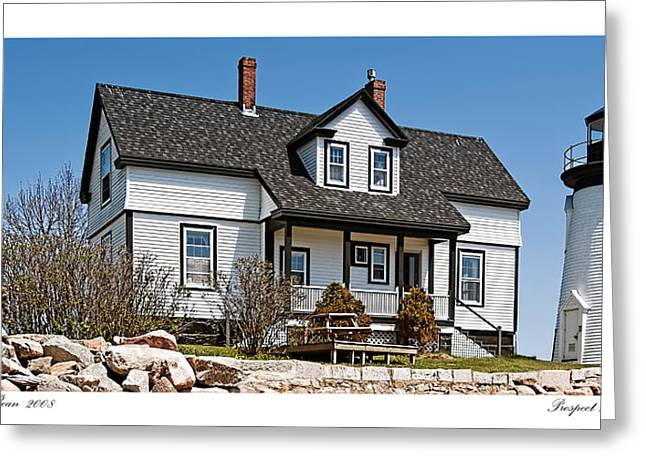 Prospect Harbor Light Greeting Card by Richard Bean