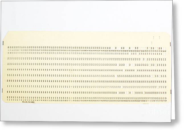 Punch Card Greeting Card by Photo Researchers, Inc.