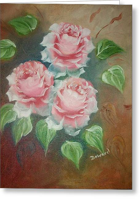 Greeting Card featuring the mixed media Red Roses by Raymond Doward