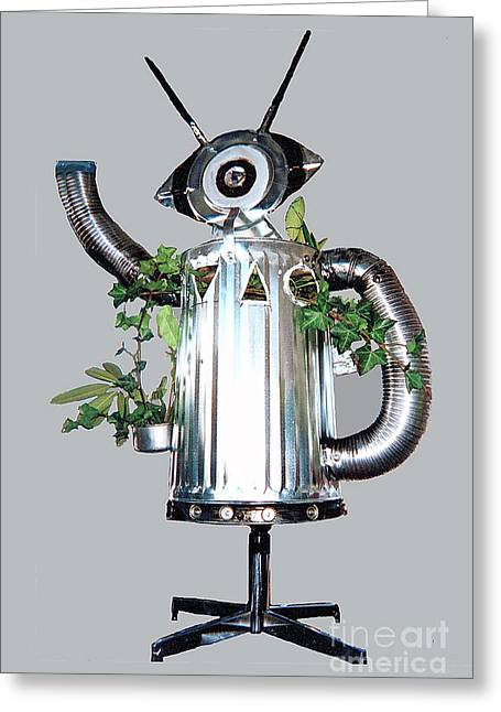 Robocan Greeting Card by Bill Thomson