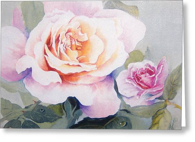 Roses And Waterdroplets Greeting Card by Sandra Phryce-Jones