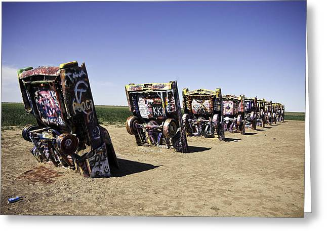 Rt 66 Cadillac Ranch Greeting Card by Paul Plaine