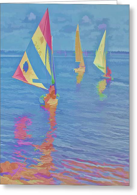 Sailing The Blue Greeting Card