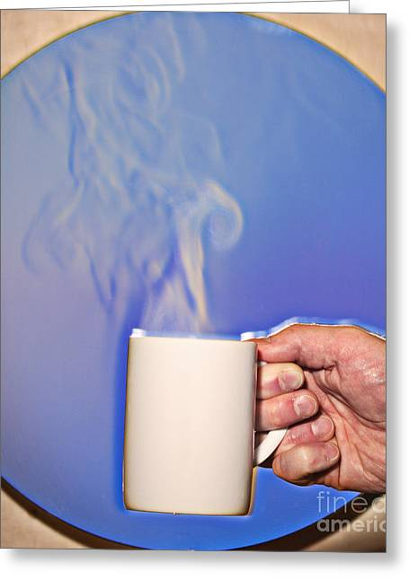 Schlieren Image Of Hot Coffee Cup Greeting Card by Ted Kinsman