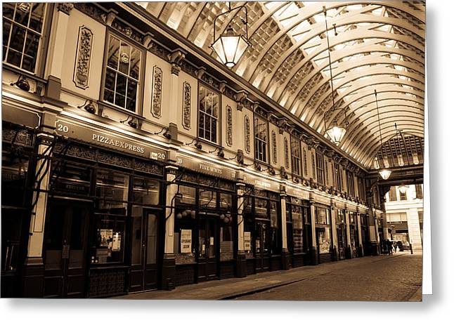 Sepia Toned Image Of Leadenhall Market London Greeting Card by David Pyatt