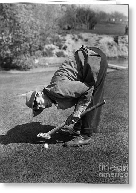 Silent Film Still: Golf Greeting Card by Granger