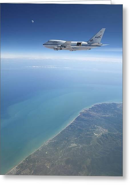 Sofia Airborne Observatory In Flight Greeting Card by Detlev Van Ravenswaay