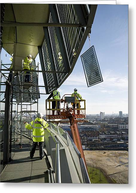 Solar Panels On City Hall, London, Uk Greeting Card by Paul Rapson