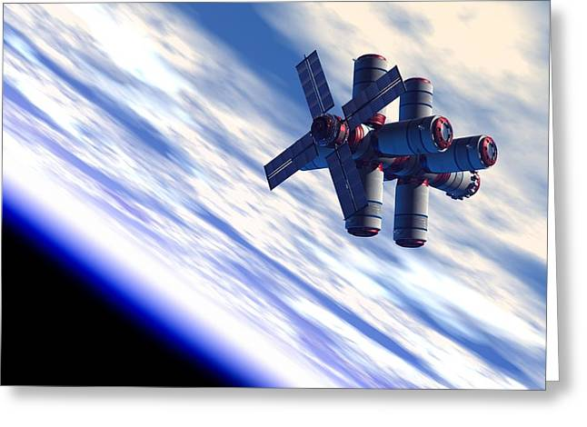 Space Hotel, Artwork Greeting Card by Victor Habbick Visions