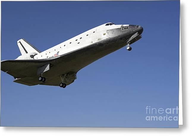 Space Shuttle Atlantis Approaching Greeting Card