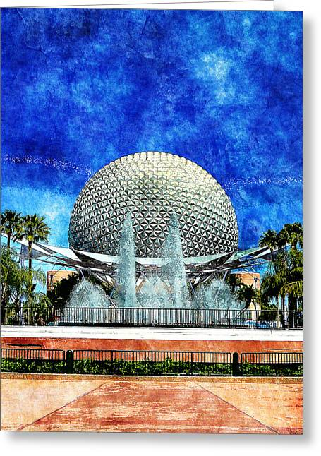 Greeting Card featuring the digital art Spaceship Earth And Fountain Of Nations by Sandy MacGowan