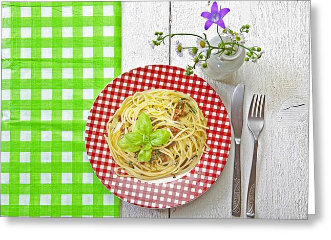 Spaghetti Al Pesto Greeting Card