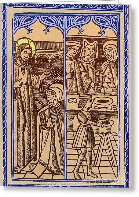 St. Catherine, Italian Philosopher Greeting Card by Photo Researchers