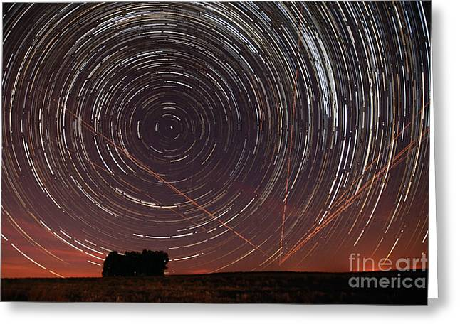 Star Trail In Alentejo Greeting Card by Andre Goncalves