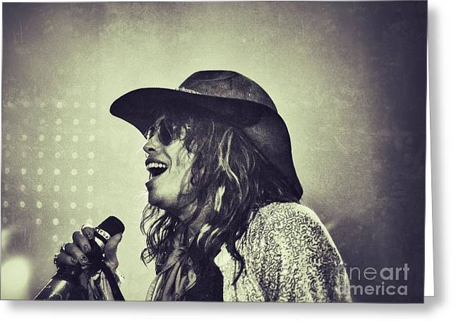 Steven Tyler Greeting Card by Traci Cottingham