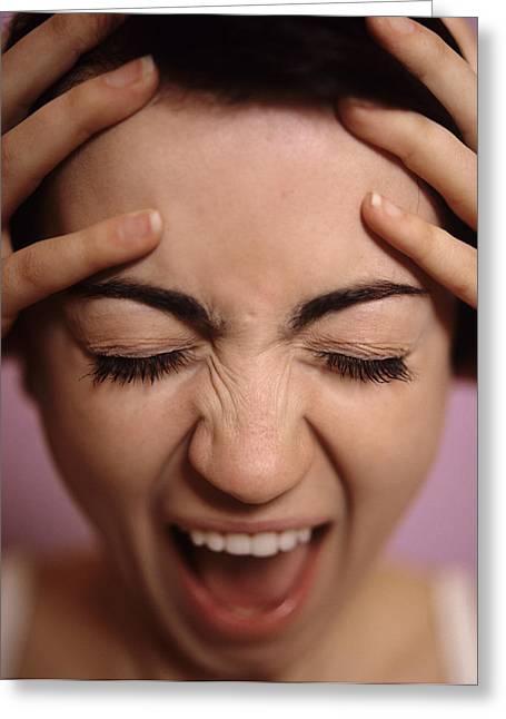 Stressed Woman Greeting Card by Cristina Pedrazzini