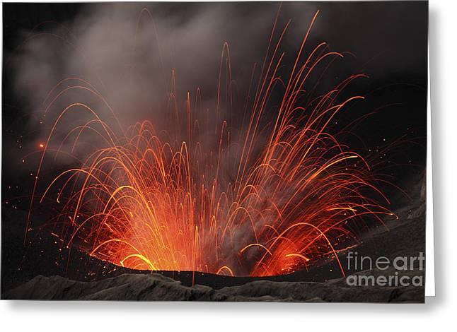 Strombolian Eruption Of Mount Bromo Greeting Card