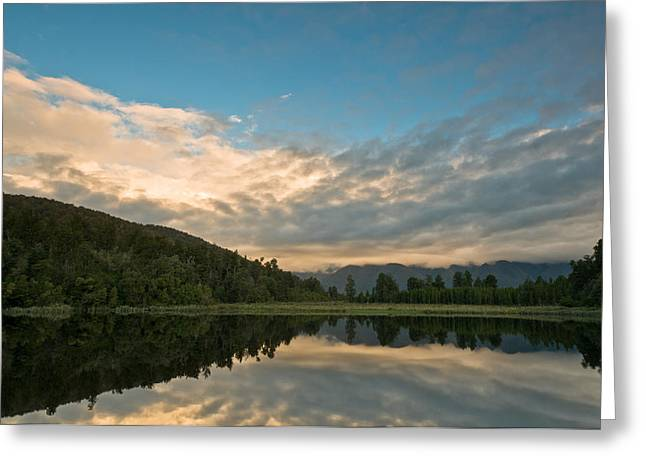 Sunrise Above A Lake On A Wind Still Morning Greeting Card by Ulrich Schade