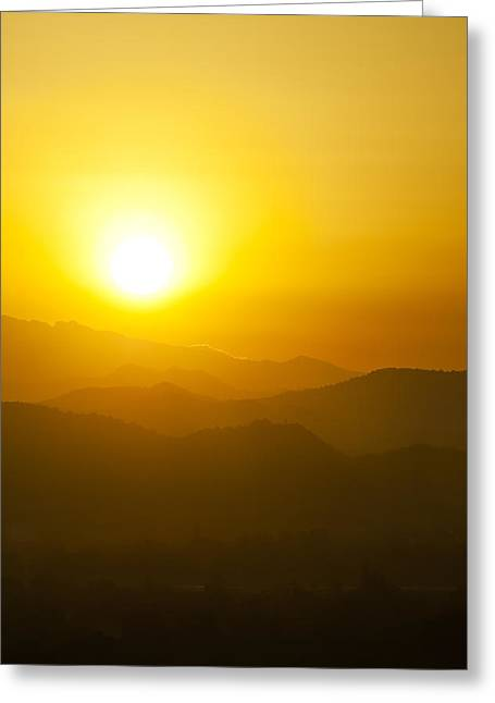 Sunset Behind Mountains Greeting Card by U Schade