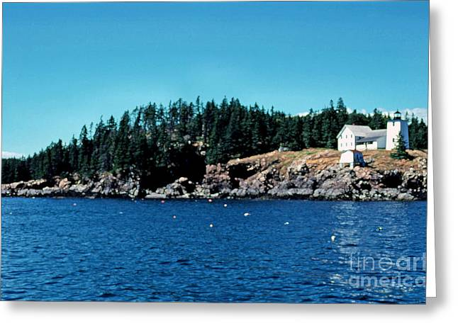 Swans Island Lighthouse Greeting Card by Thomas R Fletcher