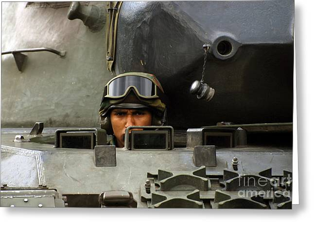 Tank Driver Of A Leopard 1a5 Mbt Greeting Card by Luc De Jaeger