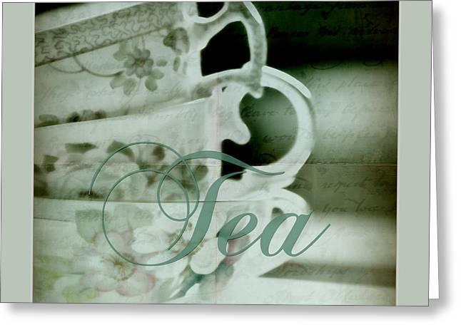 Tea For Three Greeting Card by Bonnie Bruno