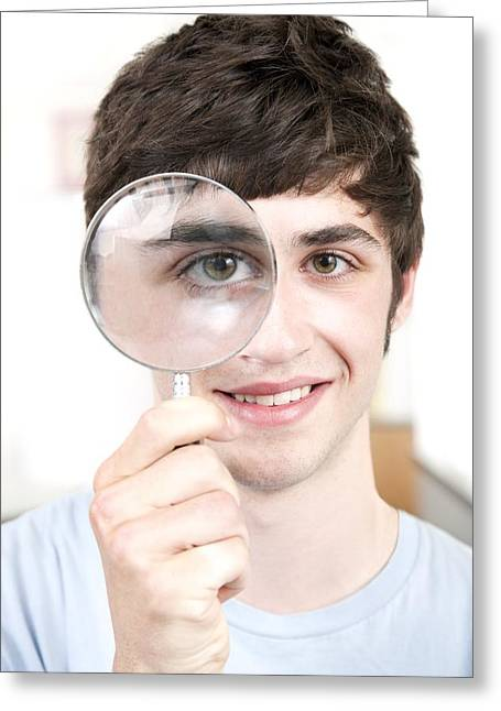 Teenage Boy With Magnifying Glass Greeting Card by