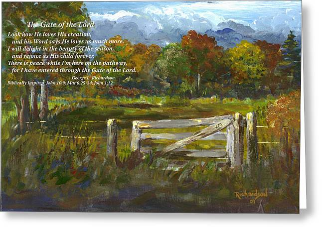 The Gate Of The Lord With Poem Greeting Card by George Richardson
