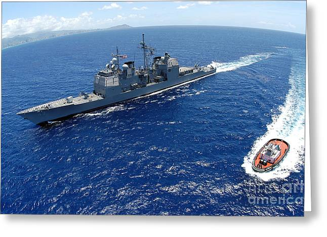 The Guided-missile Cruiser Uss Greeting Card by Stocktrek Images